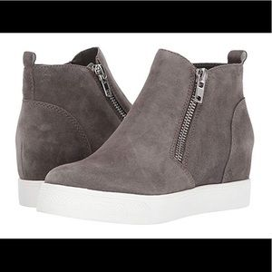 Steve Madden Wedge Sneakers Suede Taupe